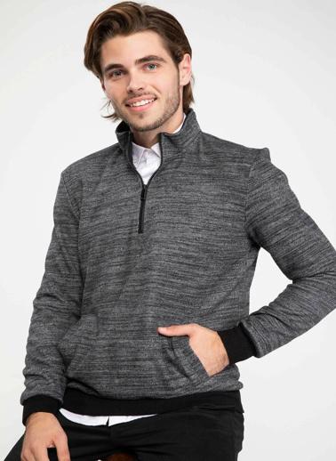 DeFacto Önden Fermuarlı Sweatshirt Antrasit